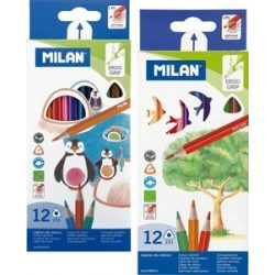 MILAN színesceruza 12db-os háromszögletű és hatszögletű kivitelben