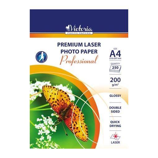 VICTORIA fényes fotópapír lézernyomtatóhoz, kétoldalas, A/4 200g 250db/csomag