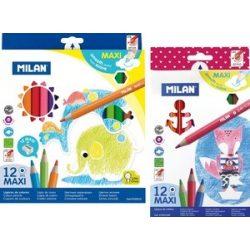 MILAN színesceruza 12db-os maxi, jumbo, háromszögletű és hatszögletű kivitelben