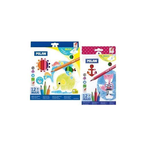 MILAN színesceruza 12db-os maxi, jumbo, 261, háromszögletű, ajándék hegyezővel