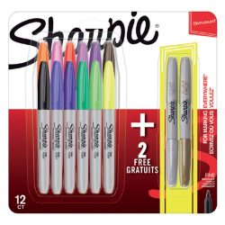 SHARPIE Fine Permanent marker készlet 12+2db