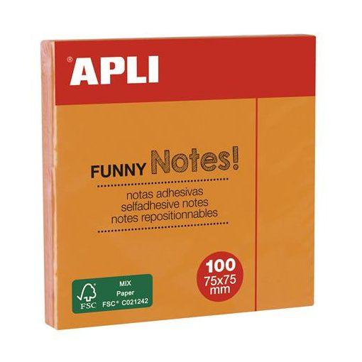 APLI öntapadós jegyzettömb 75x75mm neon színekben