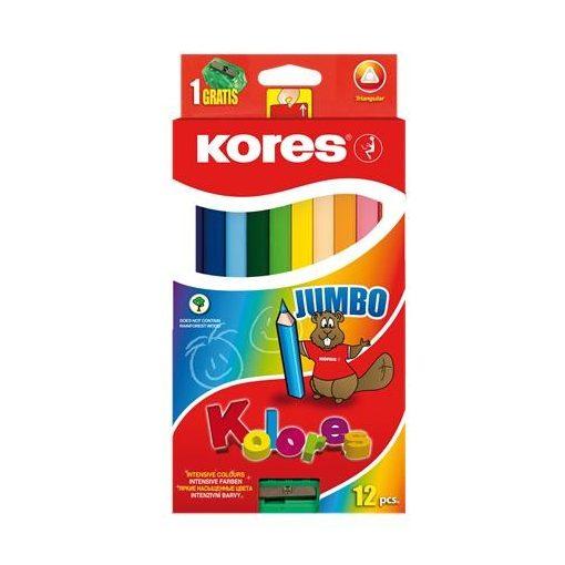 KORES színesceruza háromszögletű vastag Jumbo 12db