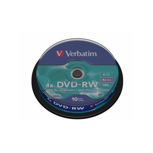 DVD-RW újraírható VERBATIM 4,7GB 4x 10db hengeren