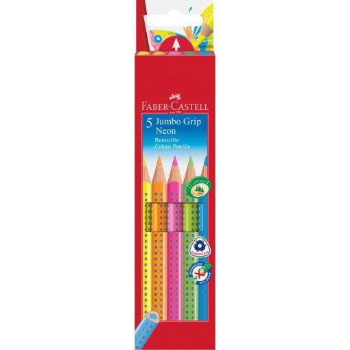FABER CASTELL Grip Jumbo színesceruza 5db neon