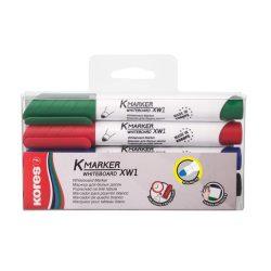 KORES tábla és flipchart marker 4db+törlő 1-3mm kúpos