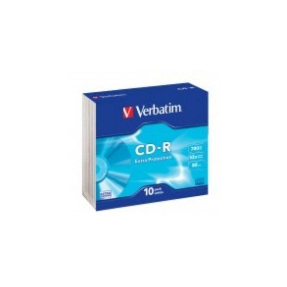 CD írható VERBATIM 700MB, 80min, 52x, vékony tok, 10db
