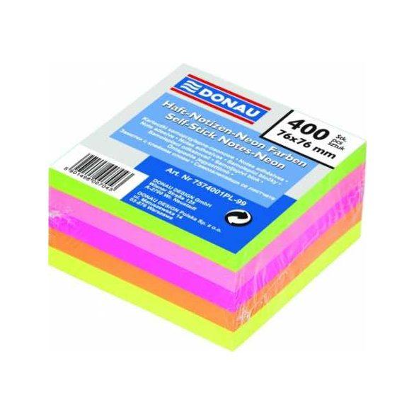 DONAU öntapadós kockatömb neon 76x76mm 5 szín 400 lap