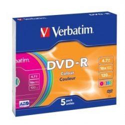 DVD-R írható VERBATIM 4,7GB, 16x, színes,  5db/csom vékony tok