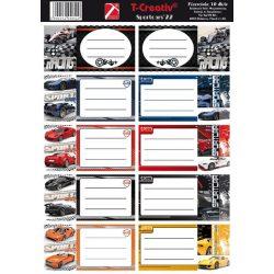 Füzetcímke mintás 10címke / lap Cars
