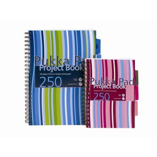 Spirálfüzet Pukka Pad Project 250 oldal, színregiszteres A/5, A/4, négyzethálós, vonalas