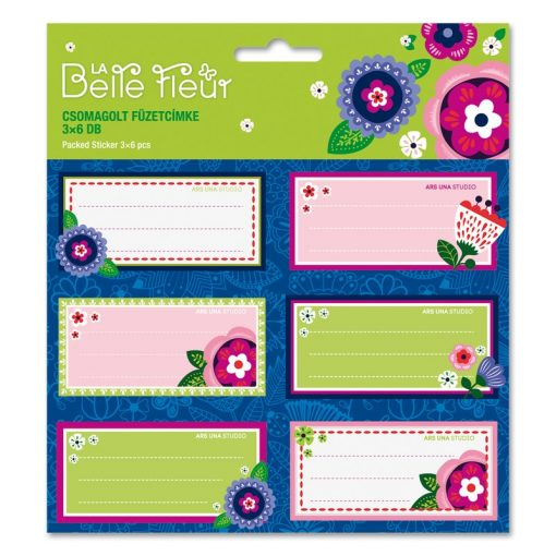 ARS UNA füzetcímke csomagolt, 3x6db La Belle Fleur