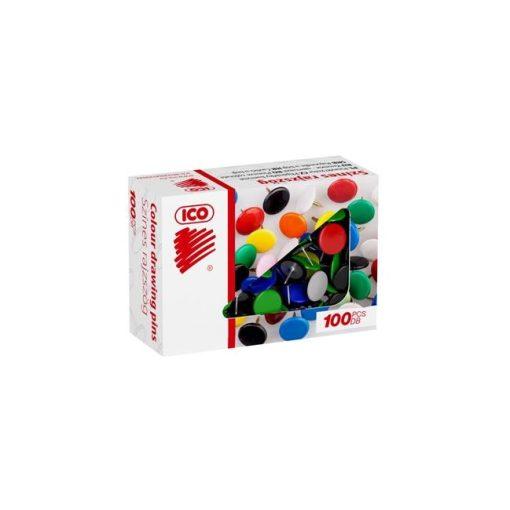 ICO rajzszeg, rajzszög, színes, 100db