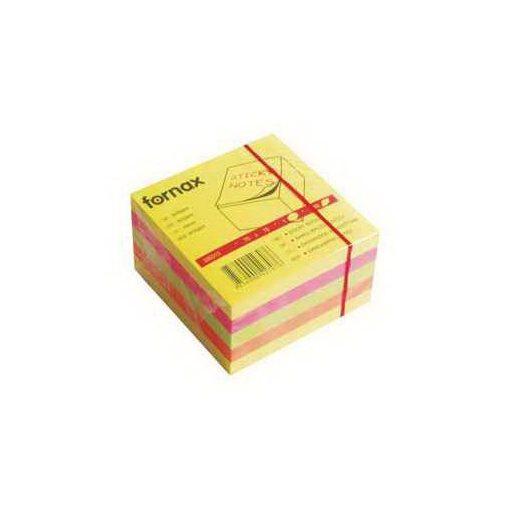 FORNAX öntapadós jegyzettömb 75x75mm 450lap vegyes szín, neon