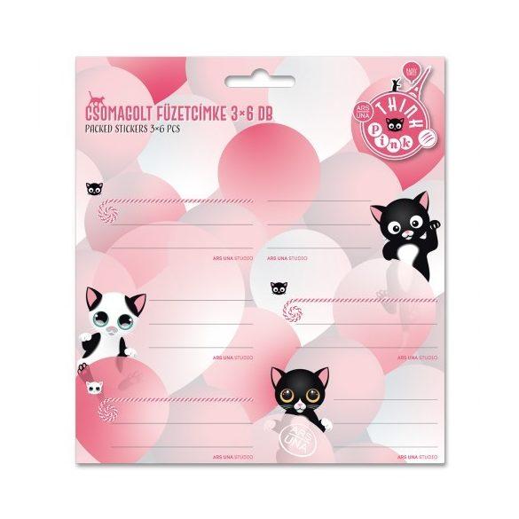 ARS UNA füzetcímke csomagolt, 3x6db Thik Pink