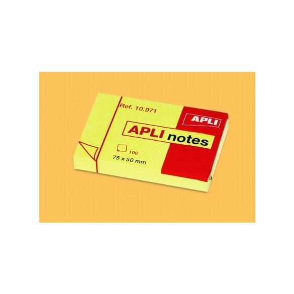 APLI öntapadós jegyzettömb sárga 50x75mm 100lap