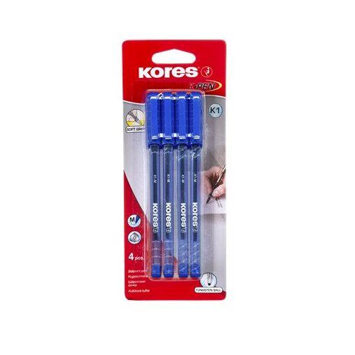 Golyóstoll KORES K1-M 1.0mm 4db kék