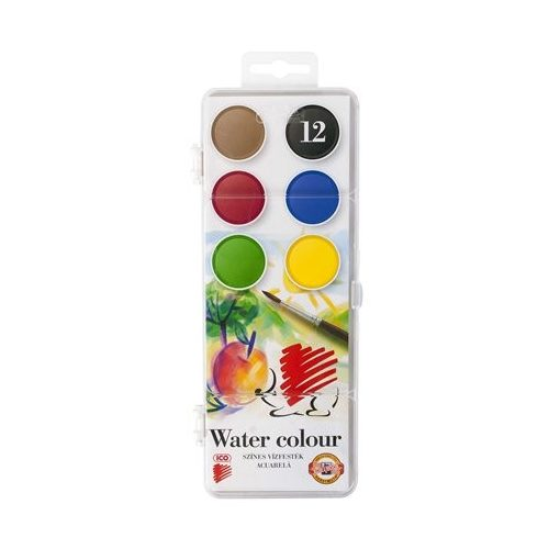 ICO Süni vízfesték 12 színű, 22,5mm átmérőjű gombokkal