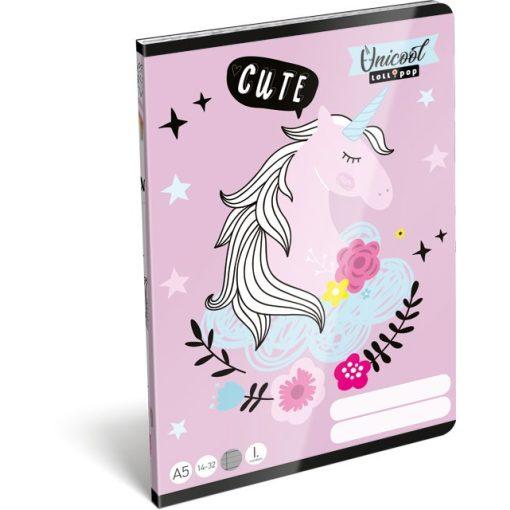 Füzet A/5 Unicorn, Unikornis Lizzy Card 12-32 III. osztályos vonalas