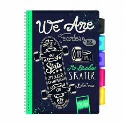 Spirálfüzet ARGUS 100 lapos, színregiszteres, 5 részes, A/4-es vonalas, We Are