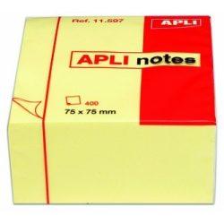 APLI öntapadós jegyzettömb 75x75mm 400lap sárga