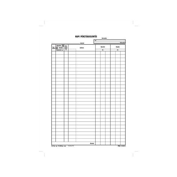 Napi pénztárjelentés A/4 25x4 lapos B.13-25/v