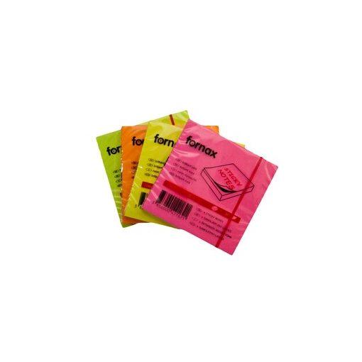 FORNAX öntapadós jegyzettömb 75x75mm neon narancs