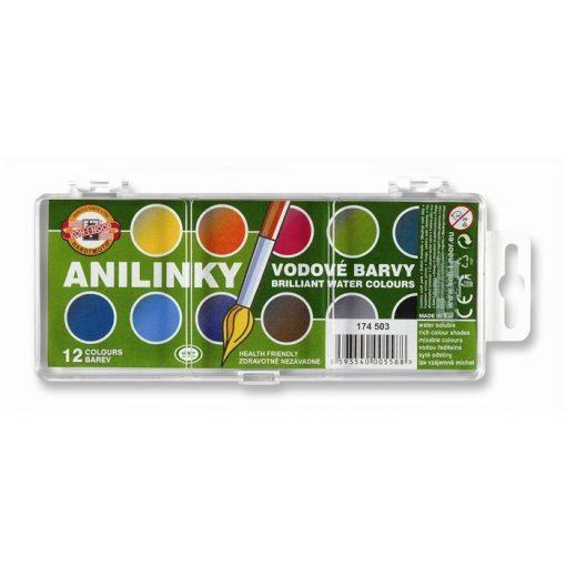 Vízfesték KOH-I-NOOR 12 színű, 22,5mm átmérőjű gombokkal Brillant, Anilinky