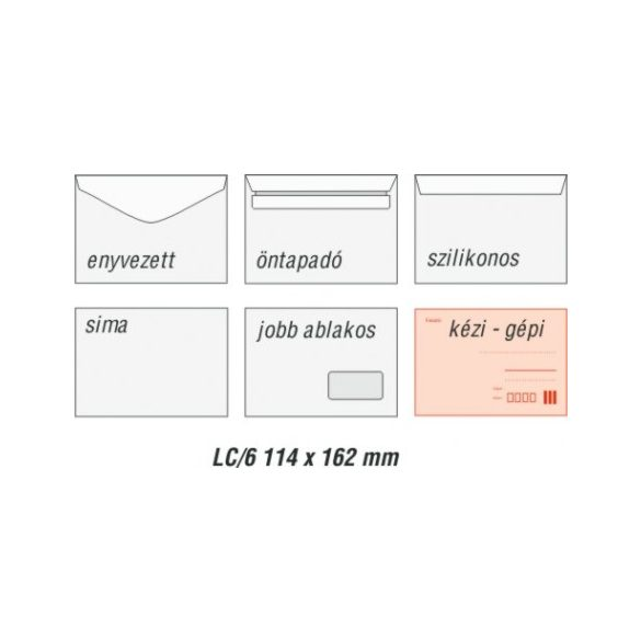 Boríték LC6 öntapadós fehér 114x162mm 100db/csom