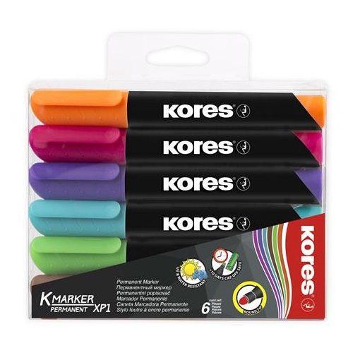 KORES alkoholos filc K-Marker 3-5mm, kúpos, 6db-os készlet